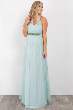 2c556aeb9b Mint Green Rhinestone Accent Tulle Maternity Gown