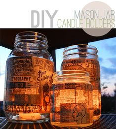 Buy a mason jar or any left over jar Find old newspaper Using glue mixed with water or modge podge glue the newspaper to the inside of the jar Place either a real candle or battery powered one inside Optional- drill holes or hot glue rope to sides to attach rope and hang it up