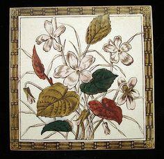 Aesthetic Brown Transferware Tile ~ VIOLETS 1885