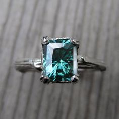 Green Emerald Moissanite Branch Engagement Ring by kristincoffin, $1625.00  oh please!