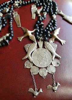 Guatemalan Chachal Necklace with Jet Beads