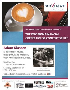 The Envision Financial Coffee House Concert Series presents modern folk music, thoughtful and melodic, with Americana influence, performed live by Adam Klassen this Saturday, 7:30-9:30PM, at SippChai Cafe. An official ‪#‎CultureDays‬ event!