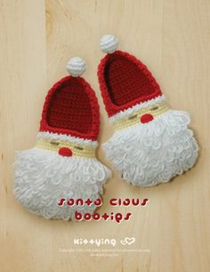 Crochet Pattern Santa Claus Toddler Booties for Christmas