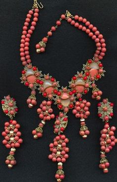 STANLEY HAGLER, NYC Coral Beads Pendant Necklace & Pendant Clip Earrings Set