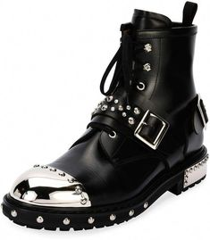 8f47d5985c Alexander McQueen Studded Cap-Toe Leather Lace-Up Boot