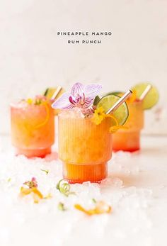 This pineapple mango rum punch recipe can be made individually or in batches and is inspired by the Caribbean. In partnership with (rum punch drink) Cocktails For Parties, Party Drinks, Summer Drinks, Rum Punch Cocktail, Mango Cocktail, Mango Rum Drinks, Rum Cocktail Recipes, Pineapple Cocktail, Cocktail
