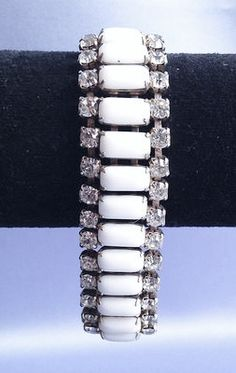 White MILK GLASS and Clear Rhinestone Prong Set by LimitlessJewels