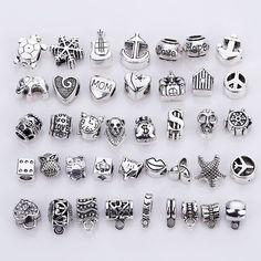 Vintage Silver Metal Mixed Beads fit Pandora Charms Fashion DIY European Charms Spacer Beads & Jewelry Making Silver Jewelry Box, Beaded Jewelry, Beaded Bracelets, Silver Ring, Pandora Bracelets, Pandora Jewelry, Pandora Beads, Bracelet Making, Jewelry Making