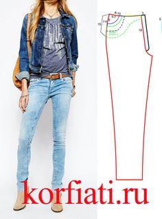 Выкройка джинсовых брюк