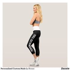 Shop Personalized Custom Made Capri Leggings created by Ricaso. Personalized Products, Customized Gifts, Capri Leggings, Women's Leggings, Text Color, Design Your Own, Party Hats, Colorful Backgrounds, Custom Made