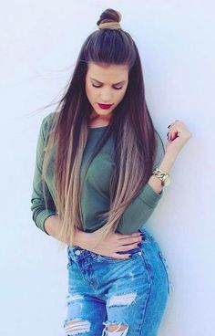 Half up top knot, great hair style for any length.