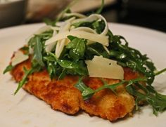 Crispy Chicken with Arugula & Parmesan. An upscale alternative to chicken fingers.