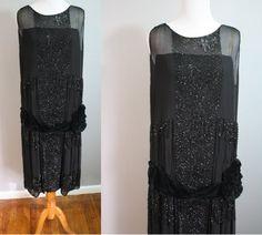 1920's Beaded Black Silk Chiffon with Velvet dress