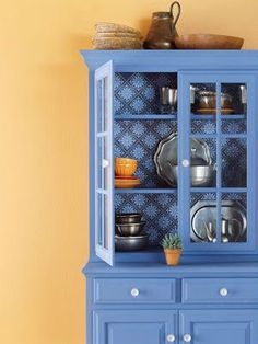 17 Ideas Wall Paper Blue Cupboards For 2019 Decor, Furniture Diy, Blue Cabinets, Furniture Makeover, Painted China Cabinets, Furniture, Home Furniture, Home Decor, Blue Cupboards