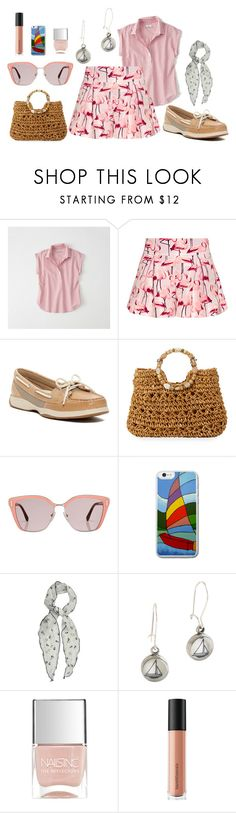 """""""Untitled #1700"""" by moestesoh ❤ liked on Polyvore featuring Abercrombie & Fitch, RED Valentino, Sperry, Cappelli Straworld, Prada, Chart Metal Works, Nails Inc. and Bare Escentuals"""
