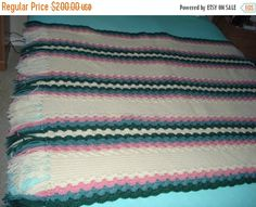 Ready to be shipped TODAY, Handmade Crochet Pastel Color Afghan Throw Over-Blanket by ufer on Etsy