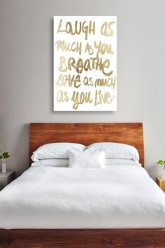 Love that it's written in gold! Oliver Gal Laugh Gold Canvas Art by Oliver Gal Gallery on @HauteLook
