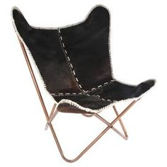 Gloria Cowhide Butterfly Chair in Black