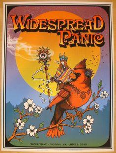 "Widespread Panic - silkscreen concert poster (click image for more detail) Artist: Matt Leunig Venue: Wolf Trap Location: Vienna, VA Concert Date: 6/5/2013 Size: 18"" x 24"" Edition: Artist Proof, signe"