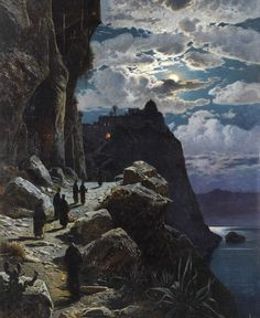 Passage of the monks to Mount Athos Monastery; Night on Mount Athos -Hermann David Salomon Corrodi Siri Bennet ( Nocturne, Cultural Studies, The Monks, Famous Artists, Art World, Art Blog, New Art, Art History, Oil On Canvas