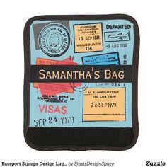 Passport Stamps Design Luggage Handle Wrap
