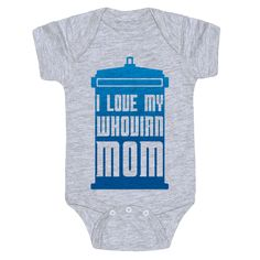 If you're a mom who loves nerdy British television and isn't afraid to show it, this cute Doctor Who baby shirt is a perfect choice of apparel for your bundle of joy! This nerdy baby t shirt also makes a perfect baby shower gift idea for any nerdy parents in your life!