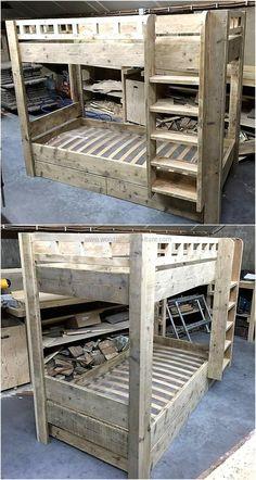 pallets made kids bunk bed