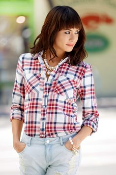 Long Sleeve Plaid Flannel Button-Up Top: Charlotte Russe