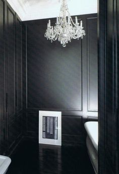 paneled black walls