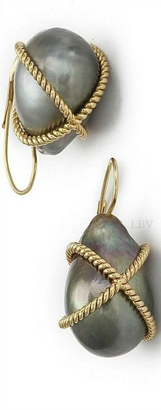 Verdura baroque pearl earrings | LBV S14 ♥✤. Although I'm sure I did wear these I do find them interesting.