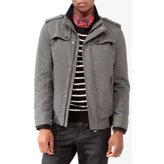 39f47f60ebd Forever 21 Men s Padded Wool-Blend Coat ( 29) ❤ liked on Polyvore featuring