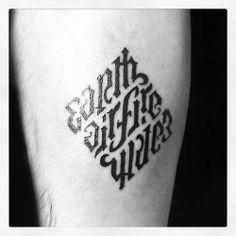 ambigram tattoo by Romain @ One O Nine Barcelona