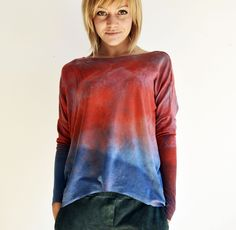 hand dyed unique longsleeve by goshko ombre Tie Dye, Tunic Tops, Long Sleeve, Unique, Clothes, Women, Fashion, Outfits, Moda