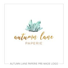 Premade Logo Design  Watercolor Crystal Logo  by AutumnLanePaperie