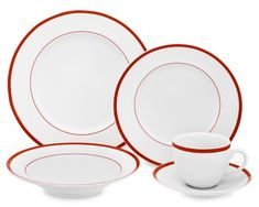 Brasserie Red-Banded Porcelain Dinnerware Place Settings #williamssonoma -- Perfect for the holidays!