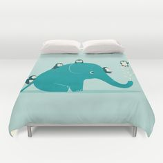 Waterslide duvet cover with elephant and penguins...cute by Jay Fleck