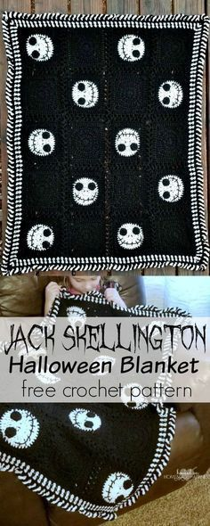 The Nightmare Before Christmas is such a classic holiday movie. We watch it over and over all season long! What better way to enjoy the season than wrapped up in a fun Jack Skellington blanket! Because its seasonal, I didnt make this blanket very large. Crochet Afghans, Crochet Blanket Patterns, Crochet Stitches, Knitting Patterns, Knit Crochet, Crochet Blankets, Crotchet, Crochet Granny, Afghan Patterns