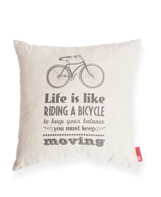 "Decorate your home with these soft and plush 100% linen vintage inspired ""Bicycle Life"" Throw Pillows"