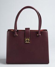 Salvatore Ferragamo : plum leather gancio lock medium top handle tote : style # 326639401