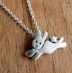Cute bunny rabbit sterling silver necklace pendant by Fingerprince, $36.00