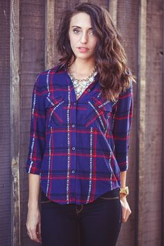 Plaid Flannel Button Up. Navy blue with red plaid button down flannel top. /// www.bohme.com //