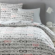 NEW! Bring a bit of retro style to the bedroom with this fun Specs Duvet Cover + Shams, which features an all-over print of old-school-style glasses.