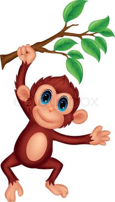Image of: Stock Vector Of vector Illustration Of Cute Monkey Cartoon Hanging Monkey Drawing Cute Pinterest Cute Monkey Cartoon u2026 punch Art Pinteu2026