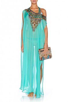 Camilla Franks Turquoise sheer kaftan