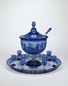 Cristalleries de Baccarat, France, 1764-present. Punch Bowl with Goblets, Tray, and Ladle, ca. 1867.