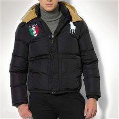 Polo Ralph Lauren Men Full Zip Italy Flag Down Jacket Black e8e6904ebc2