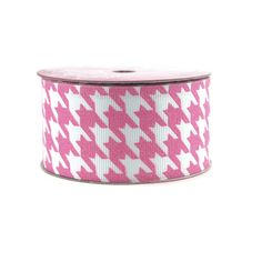Hounds Tooth Glitter Grosgrain Ribbon, 1-1/2-inch, 3-yard, Hot Pink