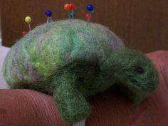 handmade green turtle wrist pincushion OOAK sheep by RAINBOWFIBRES, $20.00