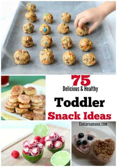 75 Delicious & HealthToddler Snack Ideas is part of Healthy toddler meals - A list of 75 Delicious & Healthy Toddler Snack Ideas to help make creative and delicious meals for your active little toddler! Great Snack ideas for kids Healthy Toddler Snacks, Healthy Foods To Eat, Healthy Kids, Homemade Toddler Snacks, Healthy Preschool Snacks, Healthy Meals For Toddlers, Picky Toddler Meals, Toddler Finger Foods, Baby Snacks
