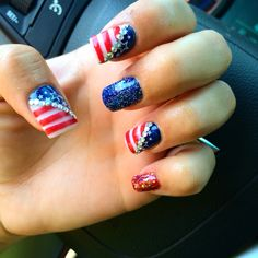 Red whit and blue Fourth of July nails